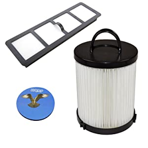 HQRP Dust Cup HEPA Filter and Exhaust Filter for Eureka AirSpeed Rewind Pet AS1041A, Gold Rewind AS1048A AS1049A Upright Vacuums Coaster
