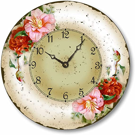 Fairy Freckles Studios Item C52807 Vintage Style 10.5 Inch Camellias Floral Clock