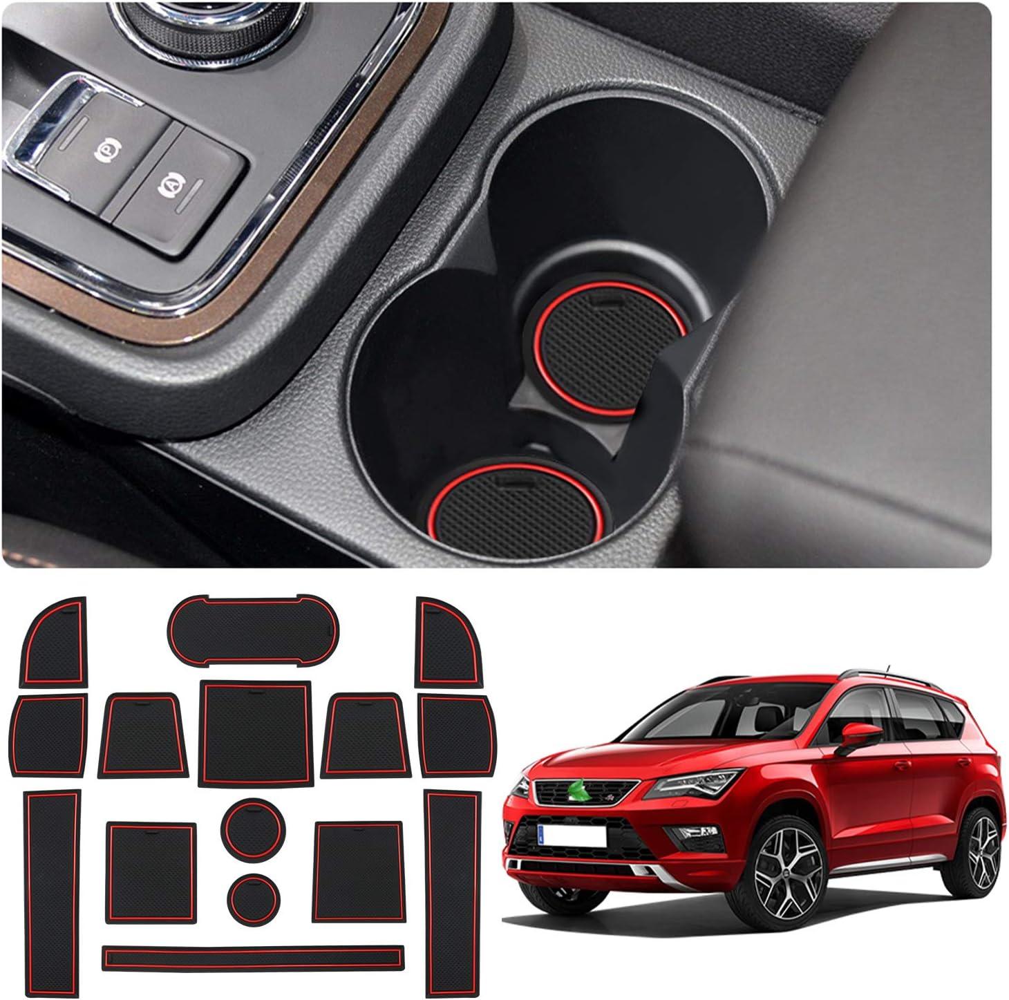 Amazon.es: YEE PIN Alfombrillas Antideslizantes Seat Ateca SUV 2017-2019 Accesorios, Alfombras de Goma para Consola Central Portavasos Coche Interior