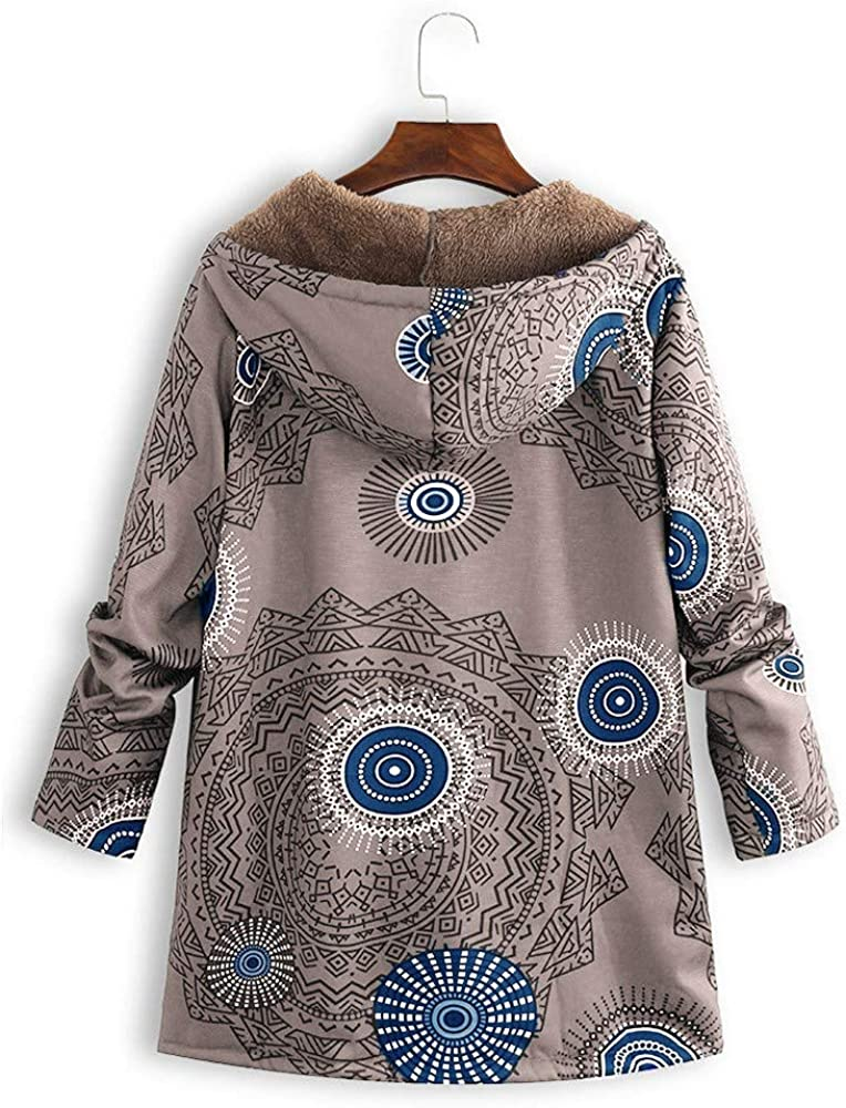 Women Printed Coats Plus Size Fashion Long Sleeve Zip Up Hooded Outwear Jacket Overcoat with Pockets Coat Parka