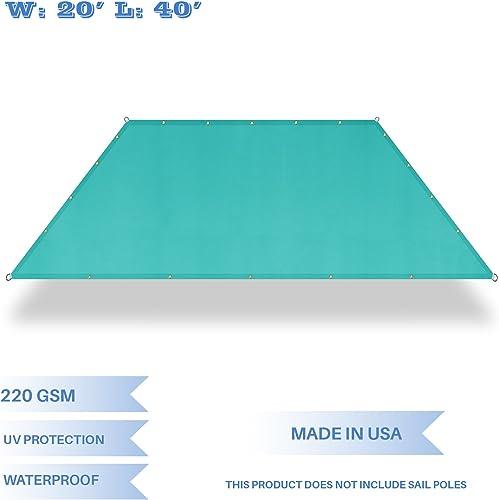 E K Sunrise 20 x 40 Waterproof Sun Shade Sail-Turquoise Green Straight Edge Rectangle UV Block Durable Awning Perfect for Canopy Outdoor Garden Backyard-Customized