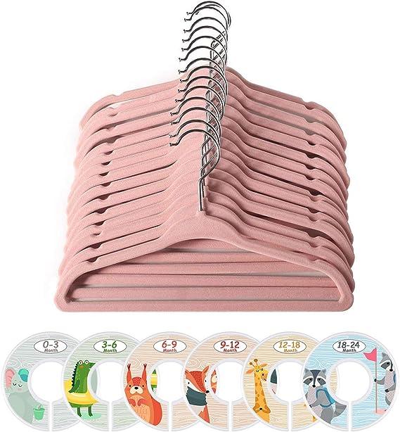 ManGotree - Perchas de terciopelo para abrigos, para niños, con 6 separadores de ropa para bebé, antideslizante, ahorro de espacio, 20 unidades (rosa): Amazon.es: Hogar