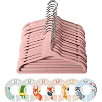 ManGotree Baby Velvet Coat Hangers, Children's Toddlers Kids Clothes Hangers with 6 Pcs Baby Wardrobe Dividers for…