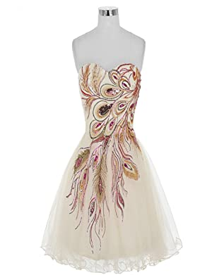 Guqier Dress Women's Peacock Embroidered Strapless Short Cocktail Prom Dress