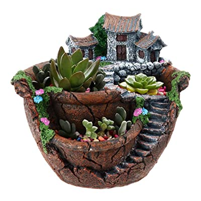 Goldblue Plants Pot Tiny Creative Flowers Succulent Plants Pot Holders Hanging Garden Design with Sweet House (Orange): Garden & Outdoor