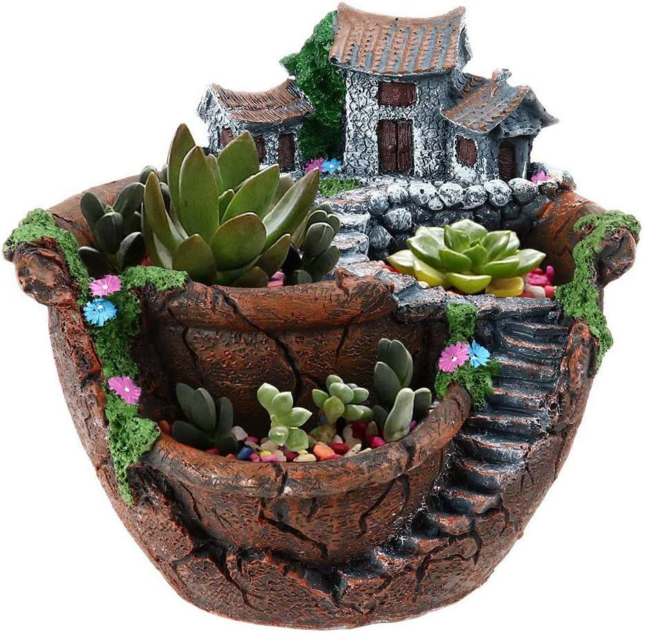 Goldblue Plants Pot Tiny Creative Flowers Succulent Plants Pot Holders Hanging Garden Design with Sweet House (Orange)