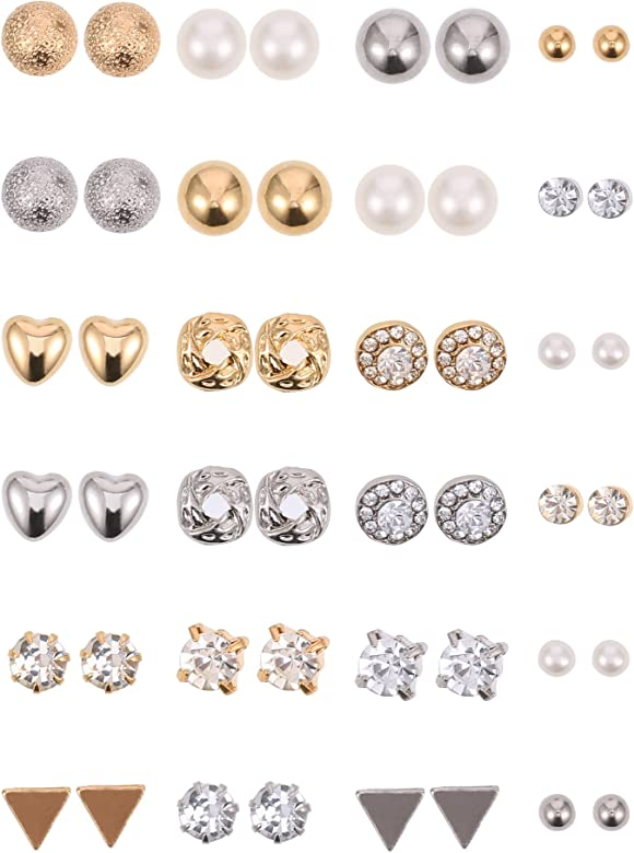 20 Pairs Stud Earrings Crystal Pearl Earring Set Ear Stud Jewelry for Girls Women Men Silver and Gold
