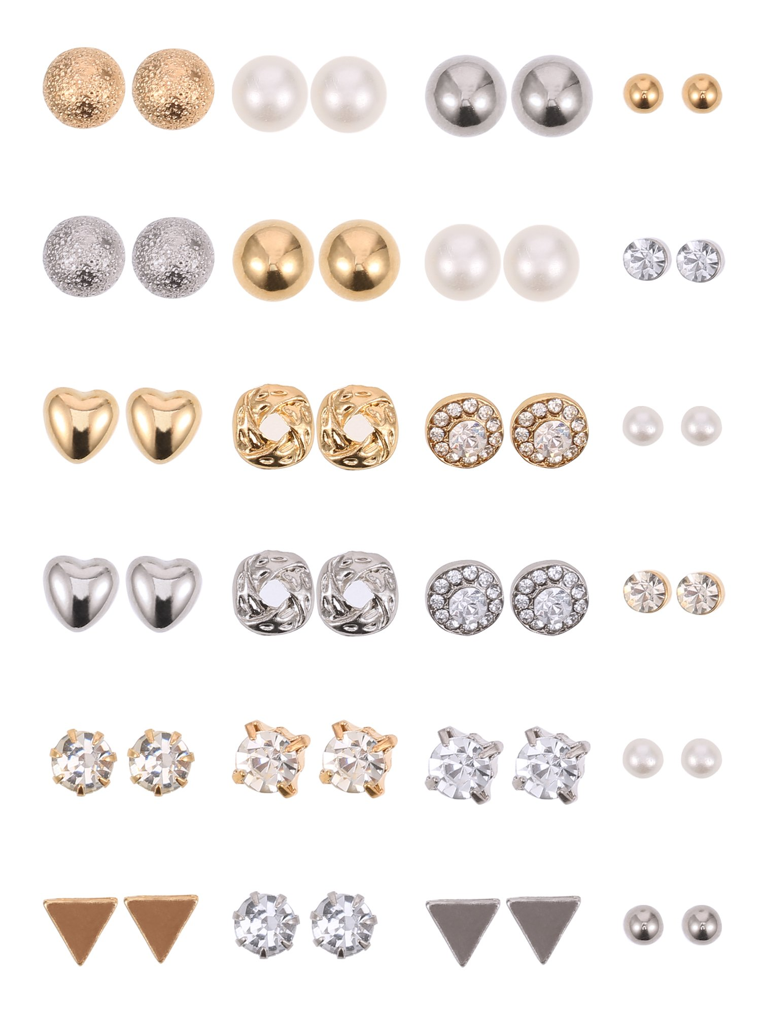 BBTO 24 Pairs Stud Earrings Crystal Pearl Earring Set Ear Stud Jewelry for Girls Women Men, Silver and Gold (Sliver & Gold) by BBTO