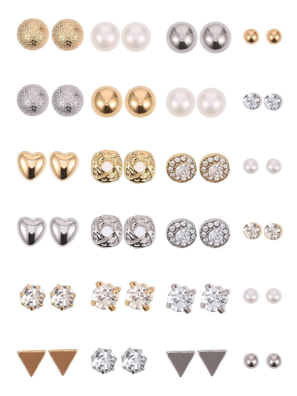 BBTO 24 Pairs Stud Earrings Crystal Pearl Earring Set Ear Stud Jewelry for Girls Women Men, Silver and Gold BBTO-Stud Earrings-01