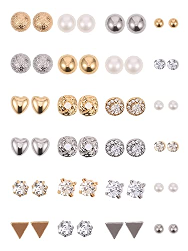24 Pairs Stud Earrings Crystal Pearl Earring Set Ear Stud Jewelry for Girls  Women Men 95fa876a8