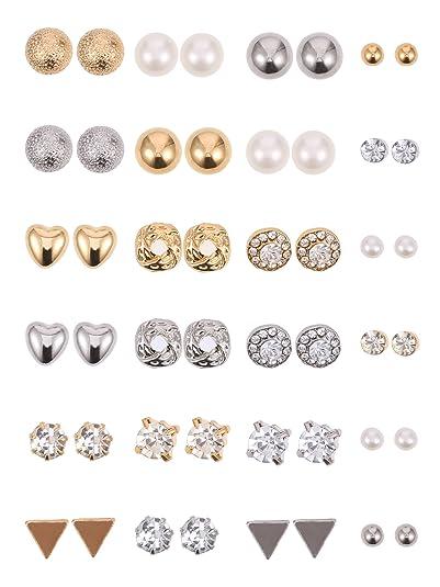 f6d2169dcabd 24 Pares de Pendientes de Perno Juego de Aretes de Cristal Perlas Joyería  de Piercing de Oreja para Chicas Mujeres Hombres