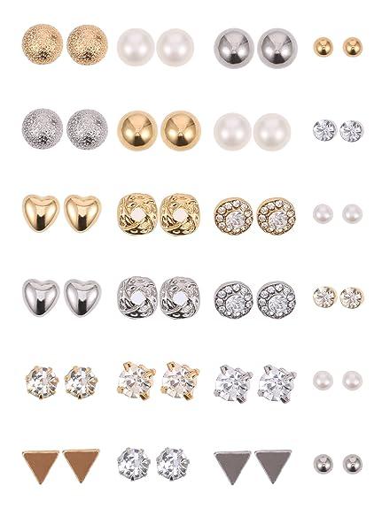 8f4d2cfcf74b 24 Pares de Pendientes de Perno Juego de Aretes de Cristal Perlas ...