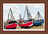Brigantia Needlework Fishing Boats Hastings Tapestry Picture Kit in Tent Stitch