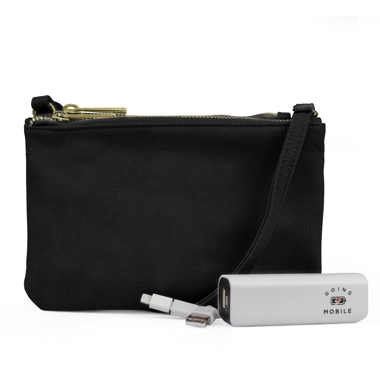 Mundi Protect & Connect RFID Blocking Womens Crossbody Bag Wallet With Bonus Portable Charger (Black)