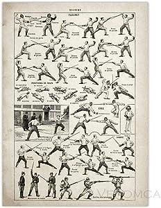 LTXMZ Jiu Jitsu Poster Fencing Fighting Technique Chart Vintage Print Canvas Painting Sword Sabre Cane Stick Baton Pictures Home Decor 50x70cm No Frame