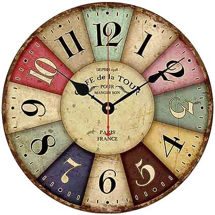 Jung Jo decorativa Reloj de pared con números arábigos de madera, 30,5 cm