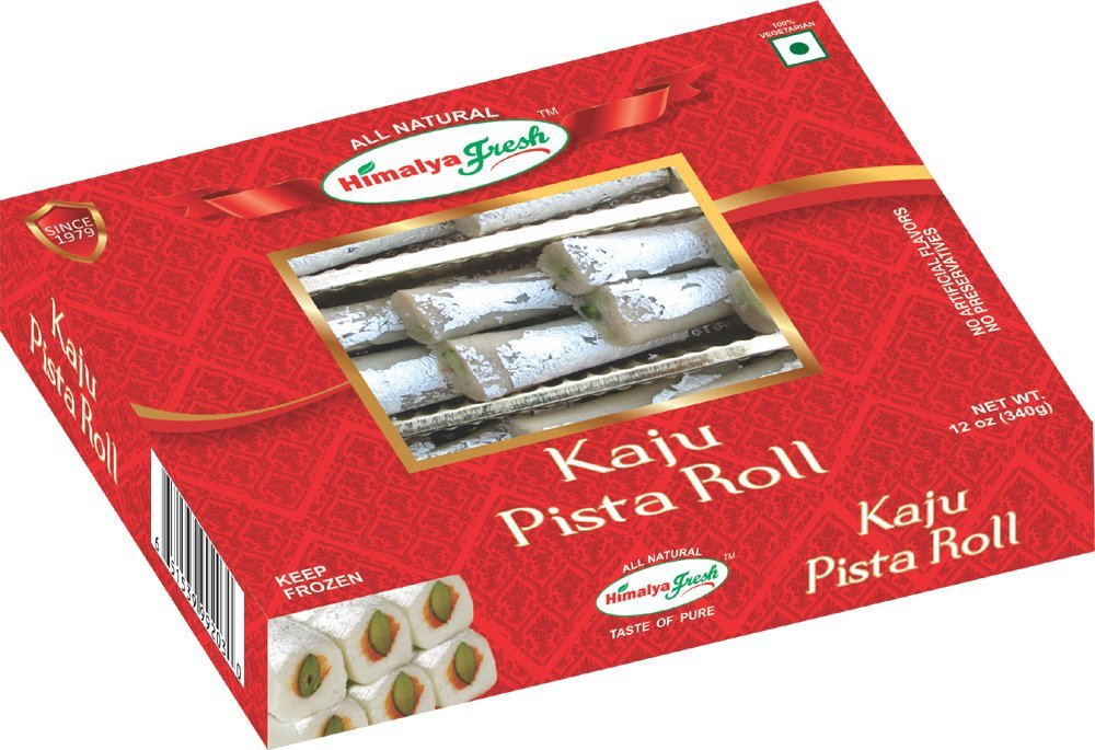 HIMALYA FRESH Kaju Pista Roll - Premium Authentic Indian Food & Sweets Made With Cashew Nuts and Pistachio - No Fillers Or Preservatives