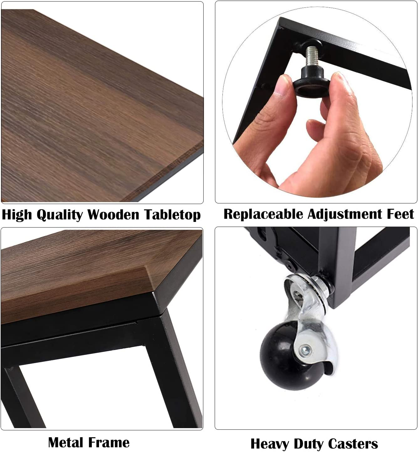 Snack Table Sofa Couch Side Table for Living Room, Mobile C End Table for Coffee Laptop, Walnut