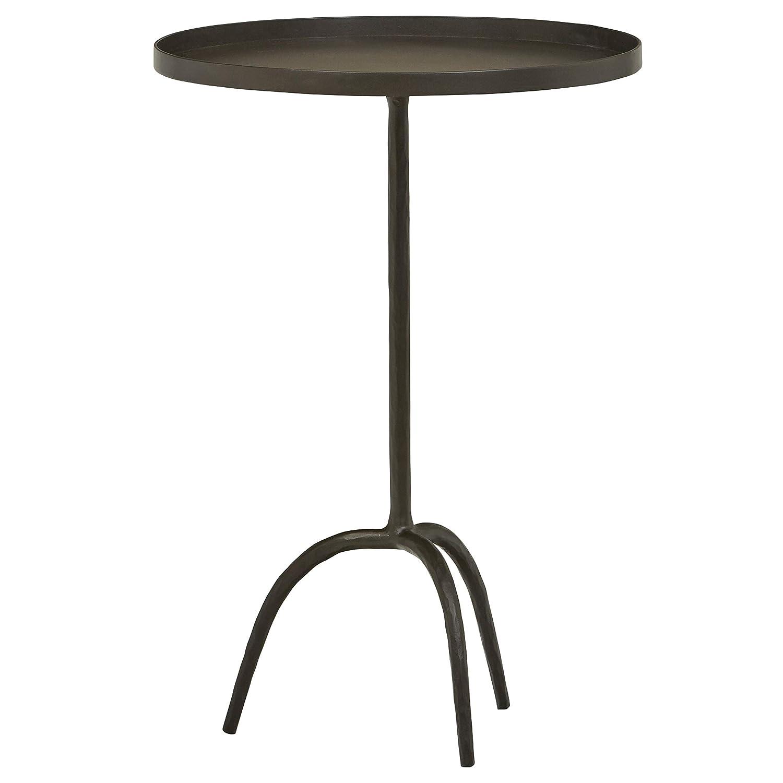 "Stone & Beam Industrial Round End Pedestal Table, 16.14""W, Gunmetal"