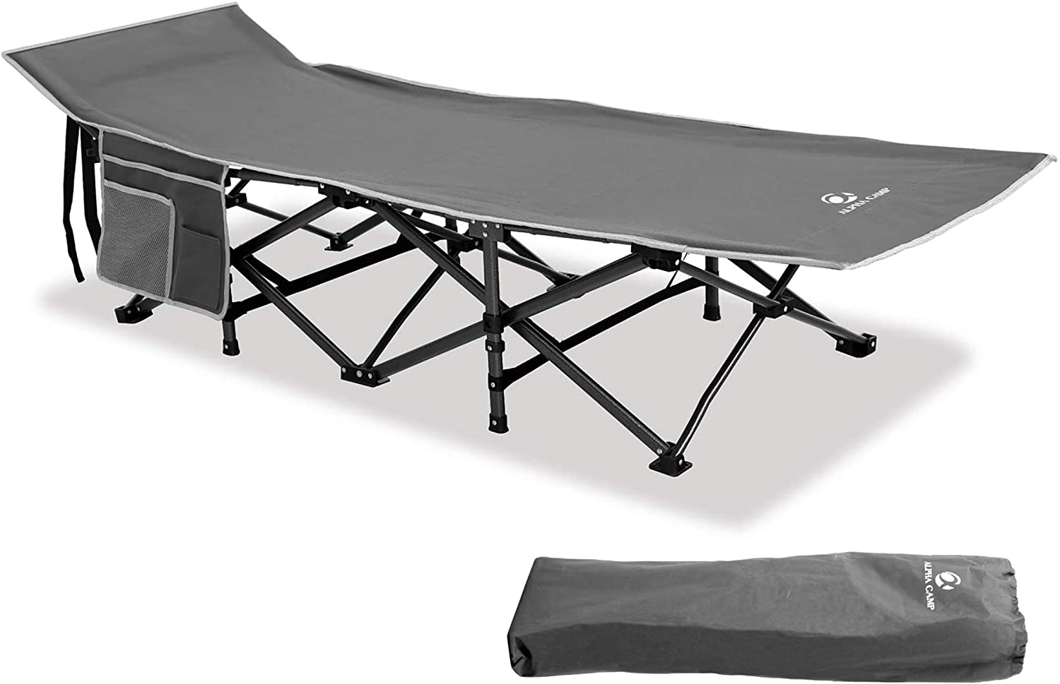 Camping World Foldable Camping Cot Bed Outdoor Portable for Adults Lightweight Oversized Heavy Duty Sleeping Cot Extra Wide with Carry Bag for Camping Outdoor Indoor, Travel Cot, Supports 600 lbs