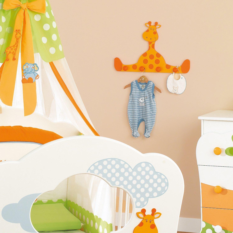 Appendiabiti Pali Gigi & Lele Giraffa A Muro Bianco-mandarino