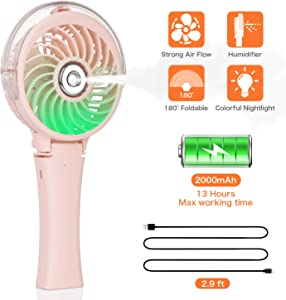 COMLIFE Handheld Misting Fan Portable Fan Facial Steamer-Rechargeable Battery Operated Fan, Foldable Travel Fan with Cooling Humidifier and Colorful Nightlight for Camping, Hiking, Outdoor