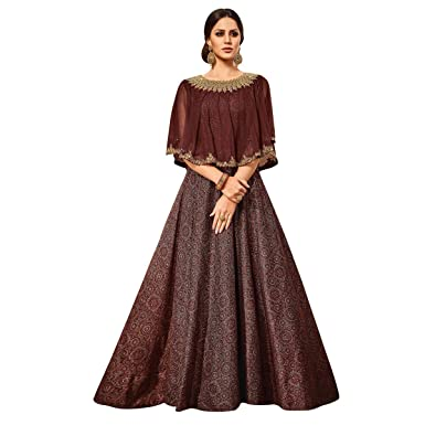 ca2a739c5d Image Unavailable. Image not available for. Colour: Likeadiva Brown Raw Silk  Women's Semi-Stitched ...