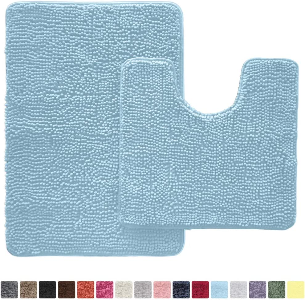 GORILLA GRIP Original Shaggy Chenille 2 Piece Area Rug Set Machine Wash//Dry Mats Includes Square U-Shape Contoured Toilet Mat /& 30x20 Carpet Rug Plush Rugs for Tub Shower /& Bath Room Violet Soft