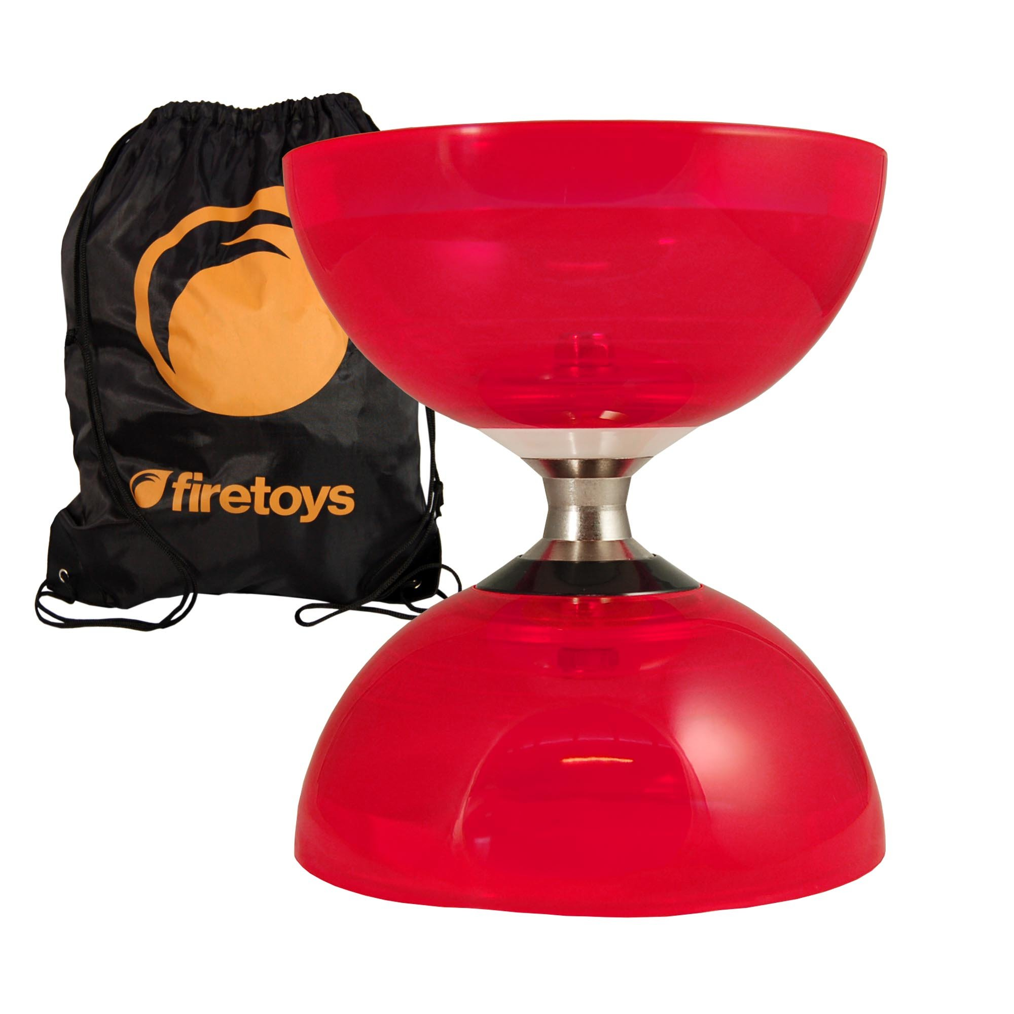 Cyclone Quartz 2 (Red) Triple Bearing Diabolo & Firetoys Bag - No Diablo Sticks or String