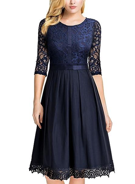 Miusol Vintage Encaje Fiesta Slim Vestido Plisado para Mujer Azul Small