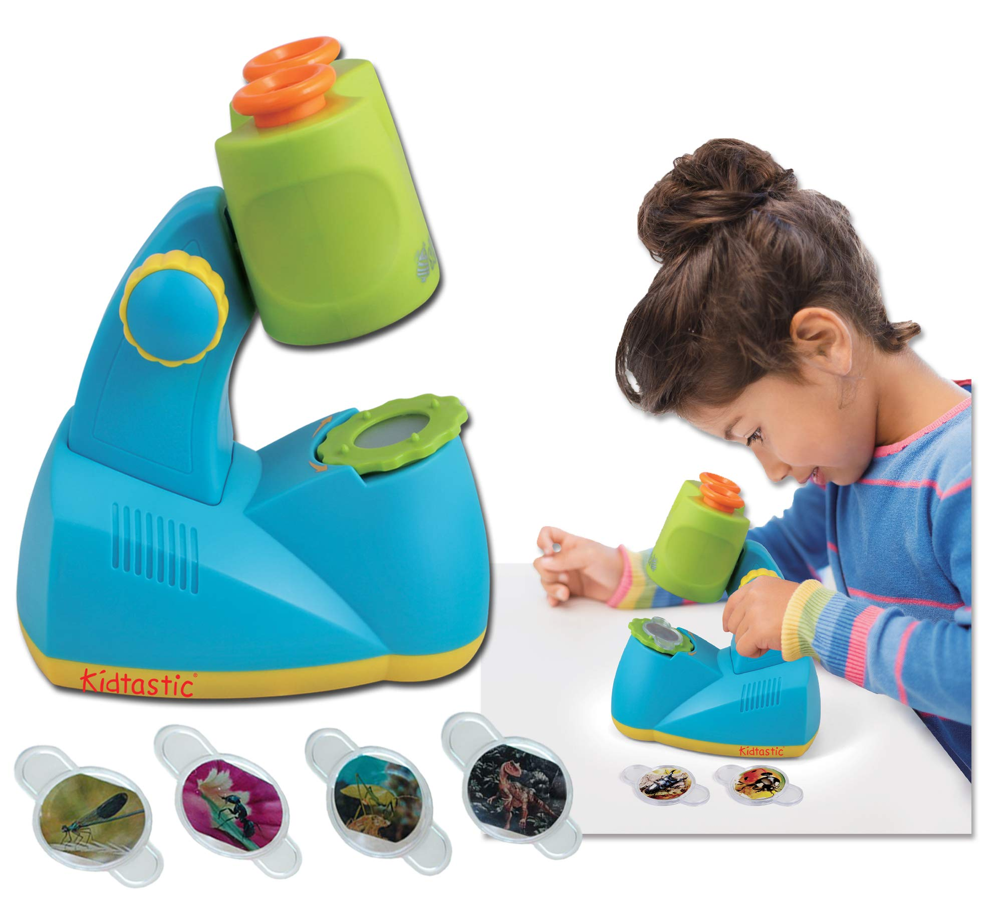 Kidtastic Microscope Science Kit for Kids - Fun Learning Toys for Preschoolers - STEM Toy for 3 Year olds - with 12 Slides Animals & Nature, 8X Zoom, LED Light - for Ages 3, 4, 5, 6 and up by Kidtastic
