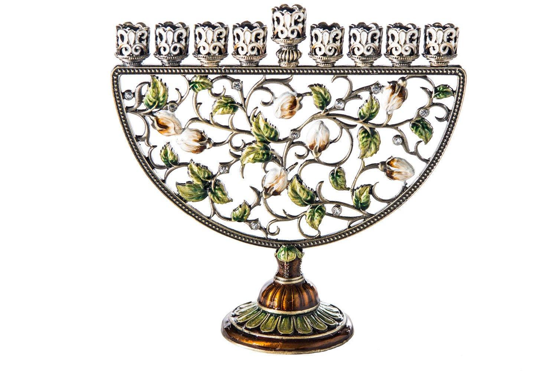 Hanukkah Jeweled Menorah Green Leaves 7'' x 7'' Hanukkia