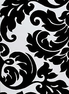 3459 Black White Damask 5u00272 X 7u00272 Modern Abstract Area Rug Carpet