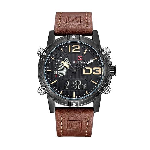 Relojes para hombre Analógico Digital Multifunción Relojes de pulsera de cuero marrón Cronógrafo Luz de fondo retroiluminada Pulsera para hombres: ...