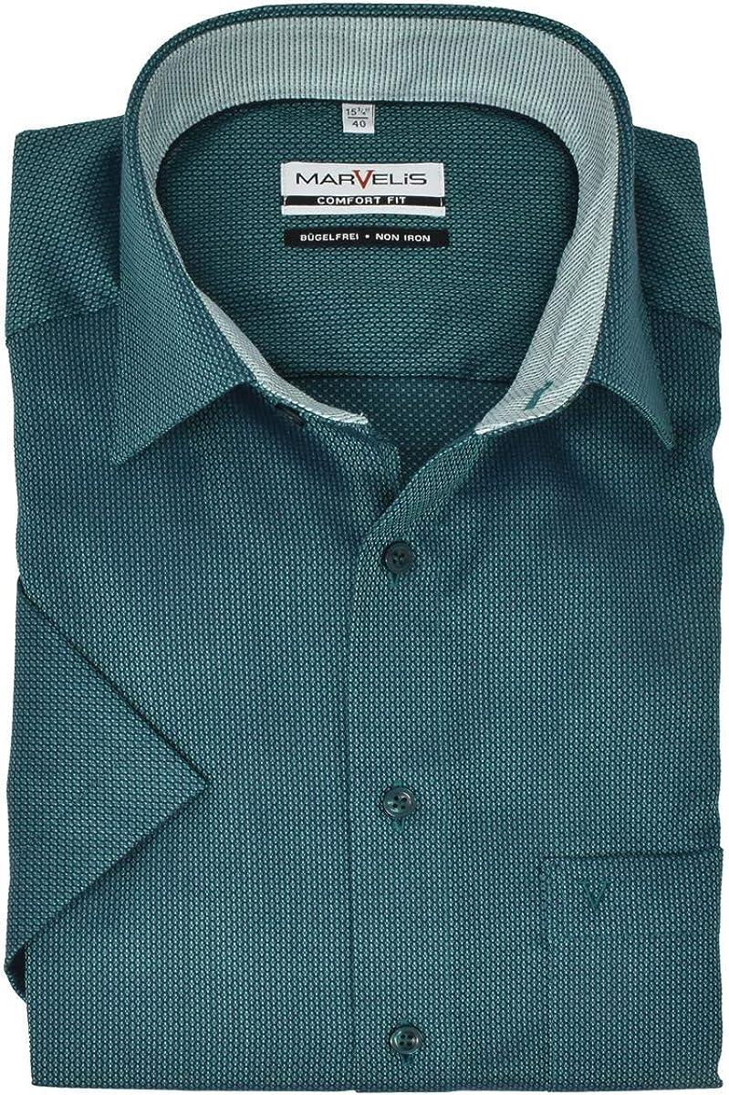 Marvelis 7088.52.45 Comfort Fit - Camisa de manga corta, diseño estampado, color verde petróleo 42: Amazon.es: Ropa y accesorios