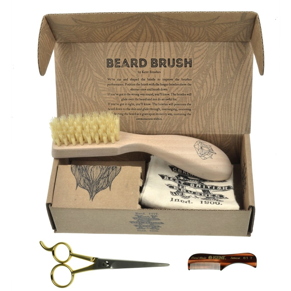BRD2 BUN Set of Kent BRD2 Boar Bristle Beard Brush + Kent 81T Handmade Sawcut Mustache Comb + Camila Solingen CS07 German Moustache Barber Scissors Shaving and Grooming Kit Bundle Best Gift for Men
