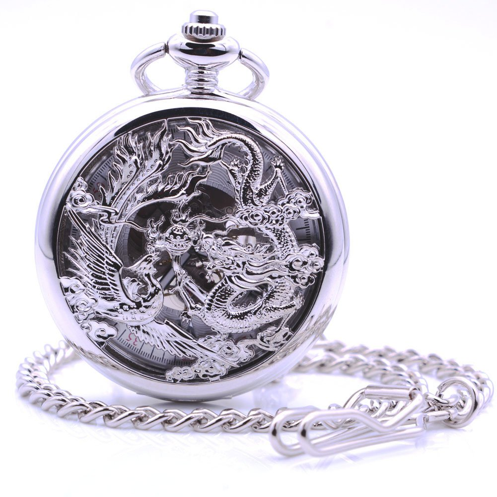 Antique Silver Dragon and Phoenix Hand-Wind Mechanical Pocket Watch, Mens Womens Pocket Watch with Chain + Box by East-E