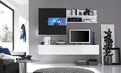 Primo 16 Nero Parete Attrezzata Soggiorno Moderna Porta Tv: Amazon ...
