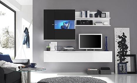 Web convenienza primo nero parete attrezzata soggiorno moderna