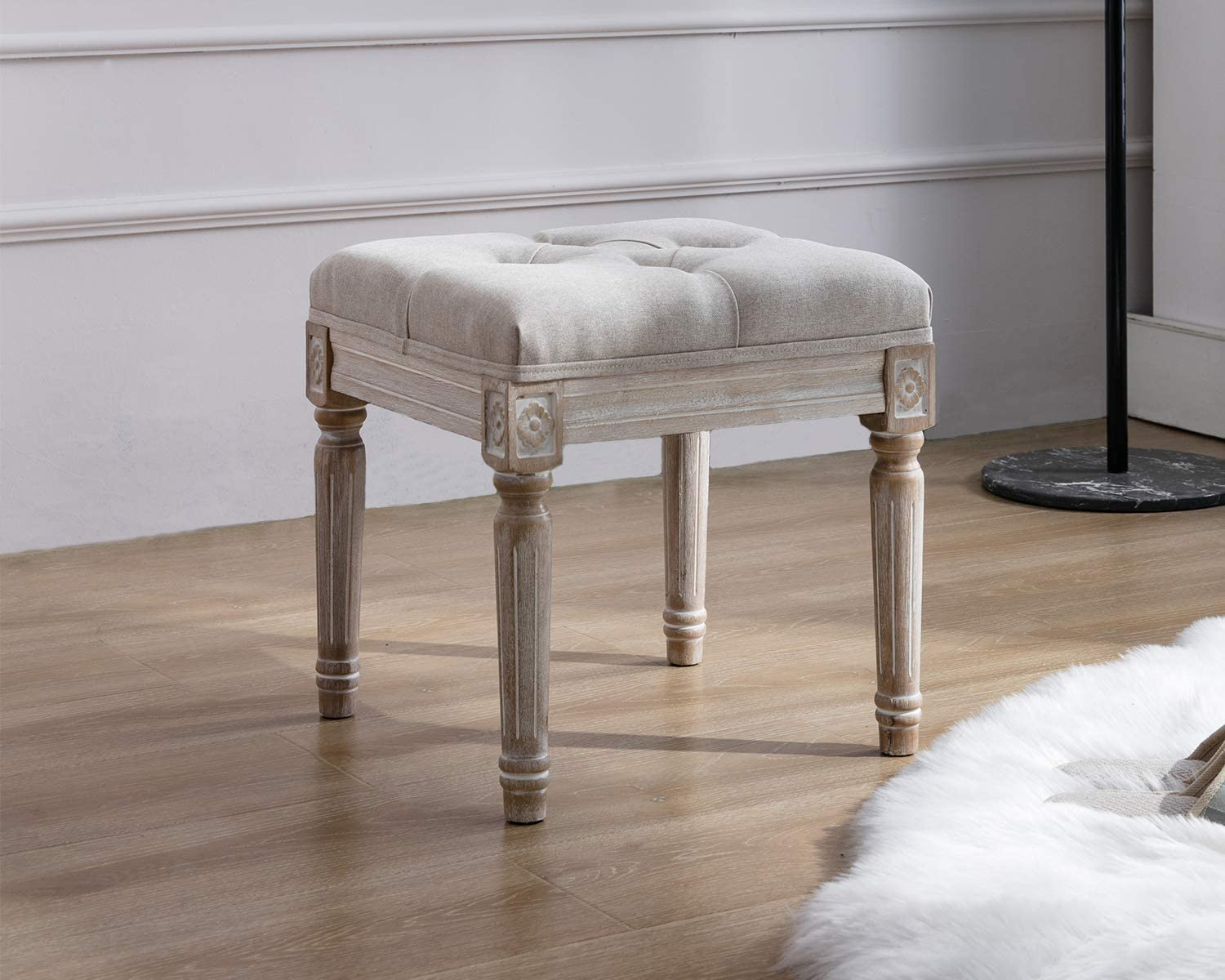 Kmax Small Padded Bench, Square Upholstered Rustic Ottoman Bench, Vanity Stools for Bedroom, 15.75