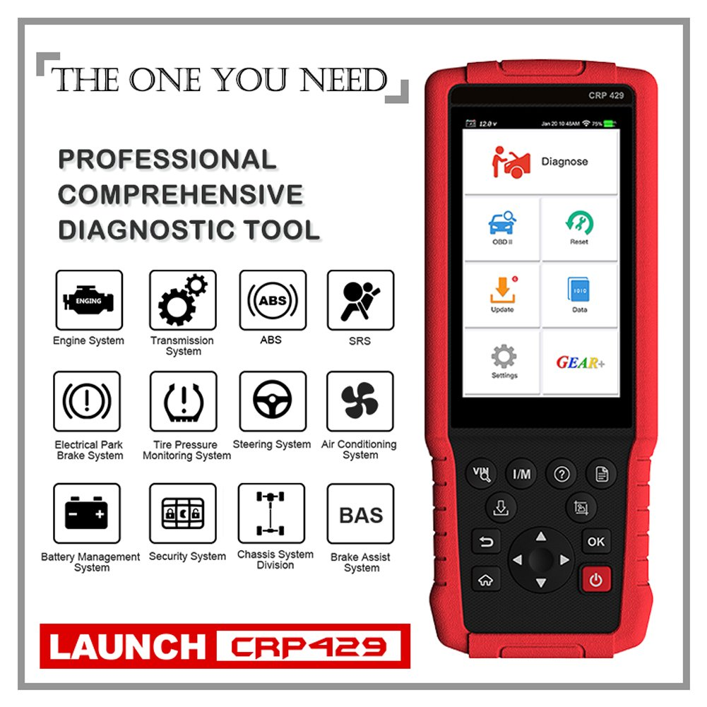 LAUNCH CRP429 OBD2 Scanner Diagnostic Scan Tool SRS ABS Full System Code Reader Reset Functions of Oil Reset, EPB, BMS, SAS, DPF, ABS Bleeding, Injector Coding and IMMO (Advanced version of CRP429C) by LAUNCH (Image #1)