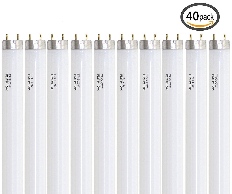 TriGlow 32 Watt T8, Cool White (4100K) Linear Fluorescent Tube Light Bulbs (40-Pack)