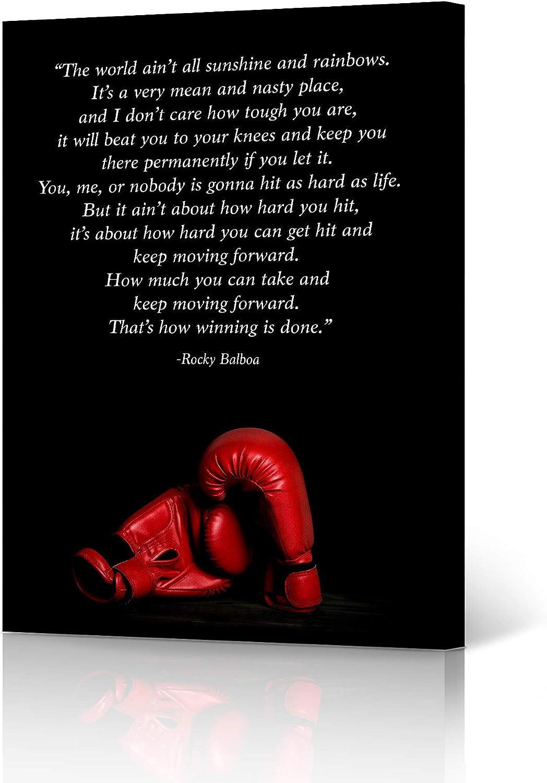 HB Art Design Rocky Balboa Motivational Quote Wall Art Canvas Wall Art Print Inspirational Speech and Red Gloves Entrepreneur Office Decor Man Son Ready to Hang - 28x19