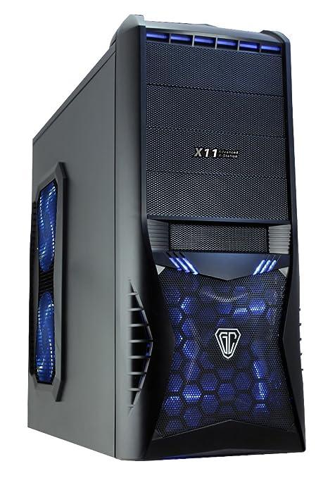 CiT 8818B Vantage Midi Mesh - Carcasa de PC (Audio HD, 4 Ventiladores, Lector de Tarjeta y sin Fuente de alimentación), Color Negro y Azul