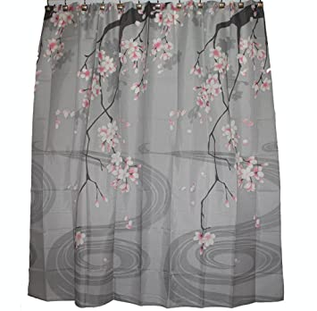 Shower Curtains cherry blossom shower curtains : Amazon.com: Traditional Japanese Cherry Blossom Art 100% Polyester ...