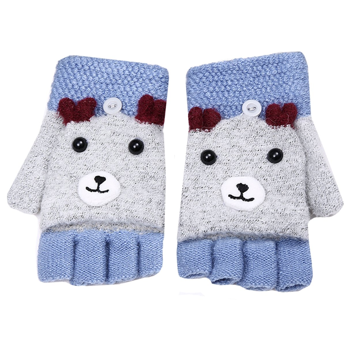 Amazon.com: Cute Girls Half Finger Gloves Winter Warm Knitted ...