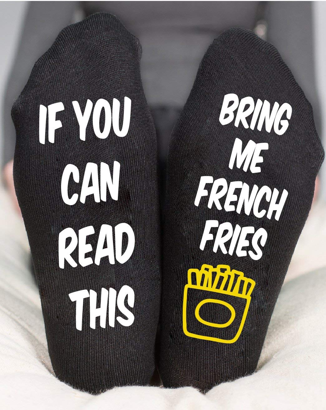 Funny Socks If You Can Read This Bring Me French Fries Gift