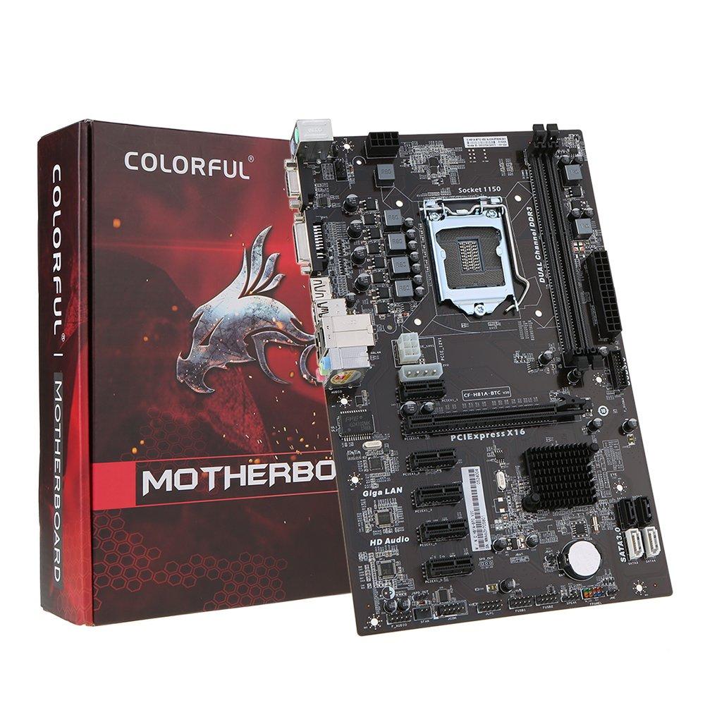 KKmoon Colorful C.H81A-BTC V20 Motherboard Systemboard for Intel H81/LGA1150 Socket Processor DDR3 SATA3.0 ATX Mainboard for Miner Mining Desktop by KKmoon (Image #7)