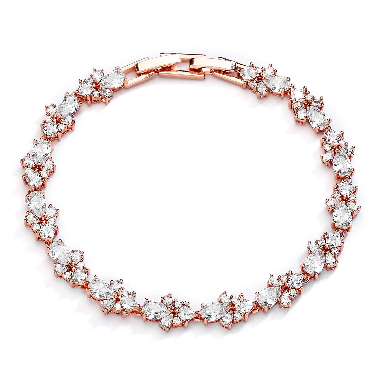 Mariell CZ Wedding Bridal & Prom Tennis Bracelet for Women, 14K Rose Gold Plating, 7'' Plus ¼ Extender