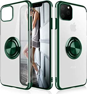 iPhone 11 Pro Case,WATACHE Clear Crystal Ultra Slim Soft TPU Electroplated Frame Case Cover with Built-in 360 Rotatable Ring Kickstand for iPhone 11 Pro,Blackish Green